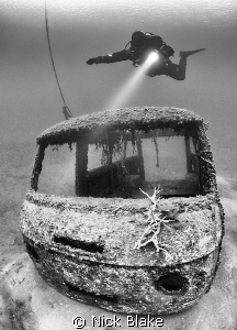 Diver over Van wreck, Wraysbury Lake.